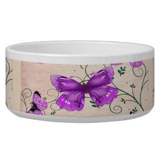 Mariposas púrpuras en colores pastel tazones para perro