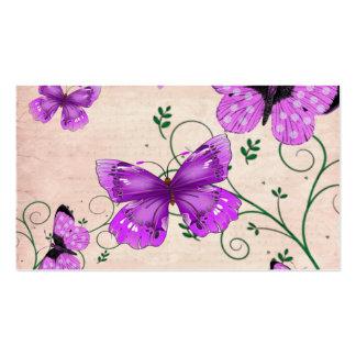 Mariposas púrpuras en colores pastel tarjetas de visita