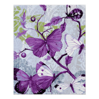 Mariposas púrpuras en una rama póster