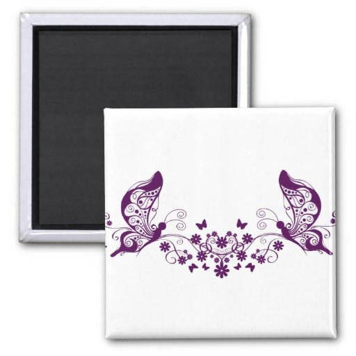 Mariposas púrpuras iman de frigorífico