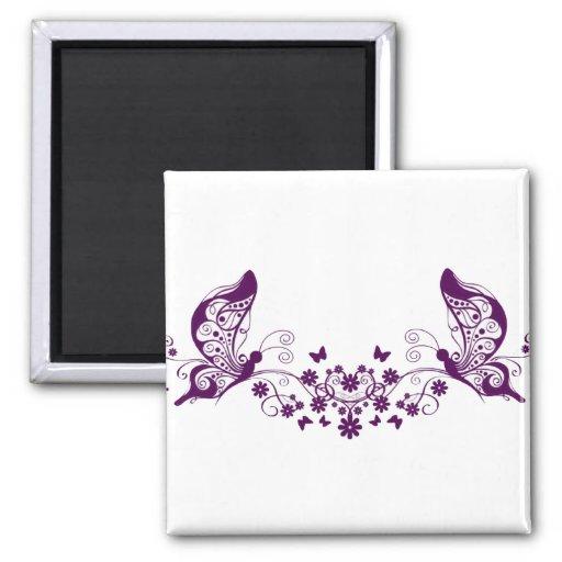 Mariposas púrpuras imán cuadrado