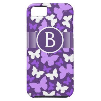 Mariposas púrpuras lindas con el monograma iPhone 5 fundas