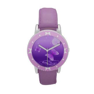 Mariposas púrpuras relojes de pulsera