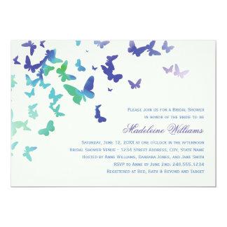 Mariposas que agitan nupciales de la invitación el invitación 12,7 x 17,8 cm