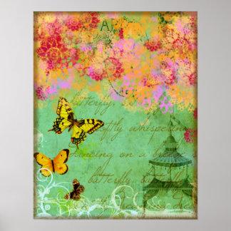 Mariposas que bailan en una impresión del poster d