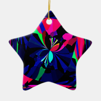 Mariposas reconstruidas adorno navideño de cerámica en forma de estrella