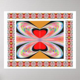 Mariposas rojas de la perla del corazón posters