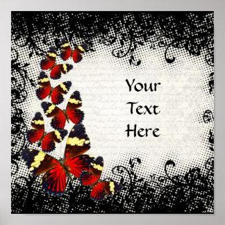 Mariposas rojas en cordón negro póster