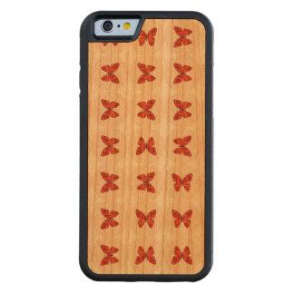 Mariposas rojas funda de iPhone 6 bumper cerezo