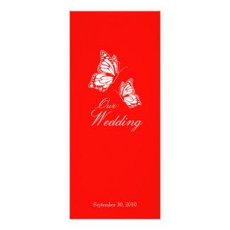 Mariposas rojas simples que casan la invitación 2