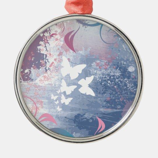 Mariposas románticas del vector en púrpura adorno navideño redondo de metal