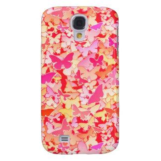 Mariposas, rosa, melocotón, coral funda samsung s4