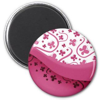 Mariposas rosadas abstractas imanes