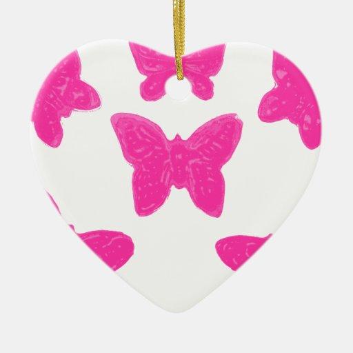 Mariposas rosadas adorno navideño de cerámica en forma de corazón
