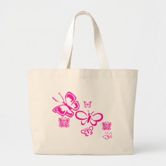 Mariposas rosadas bolsa tela grande
