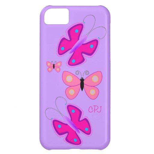 Mariposas rosadas bonitas en púrpura con el monogr