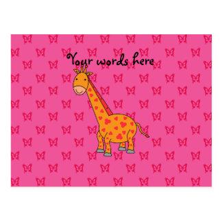 Mariposas rosadas de la jirafa tarjeta postal