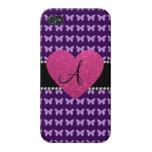 Mariposas rosadas de la púrpura del corazón del mo iPhone 4 fundas
