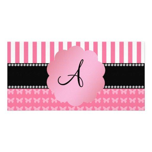 Mariposas rosadas de las rayas rosadas del monogra tarjeta con foto personalizada