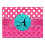 Mariposas rosadas de los lunares del monograma tarjetas postales