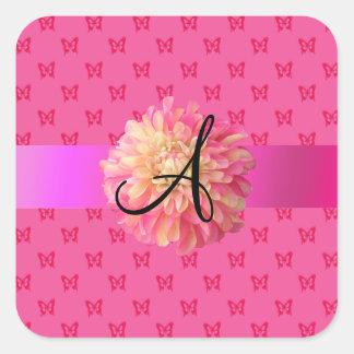 Mariposas rosadas del rosa de la dalia pegatina cuadrada