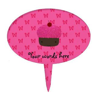 Mariposas rosadas del rosa de la magdalena del bri figuras para tartas