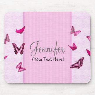 Mariposas rosadas femeninas personalizadas mousepad