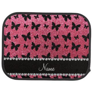 Mariposas rosadas fucsias conocidas personalizadas alfombrilla de coche