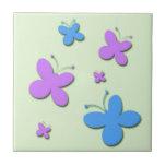 Mariposas rosadas y azules lindas teja  ceramica