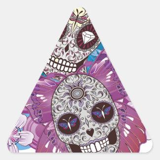 Mariposas rosadas y púrpuras del cráneo del azúcar pegatina triangular