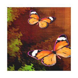 Mariposas rústicas del naranja de Brown Impresión En Lienzo
