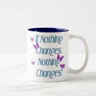Mariposas si nada cambia taza de dos tonos