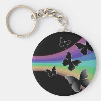 Mariposas silenciadas del arco iris en negro llaveros personalizados