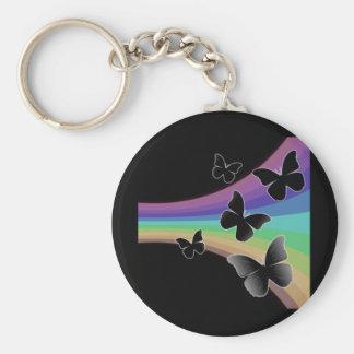Mariposas silenciadas del arco iris en negro llavero personalizado