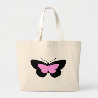 Mariposas simples en negro y rosas bebés bolsa de tela grande