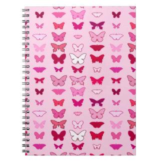 Mariposas, sombras del rosa y fucsia libros de apuntes