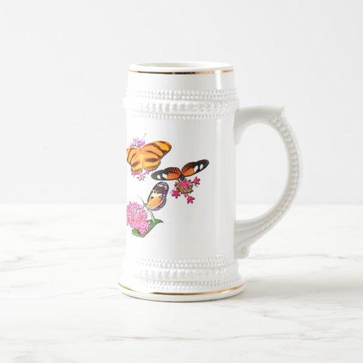 Mariposas tropicales tazas de café