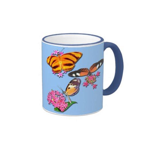Mariposas tropicales taza