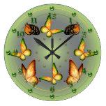 Mariposas verdes de la primavera reloj de pared