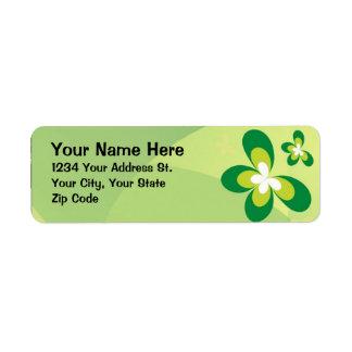 Mariposas verdes etiquetas de remite
