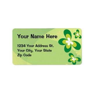 Mariposas verdes etiquetas de dirección