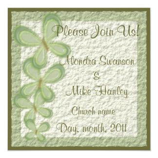 """Mariposas verdes invitación 5.25"""" x 5.25"""""""