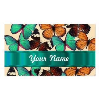 Mariposas verdes y anaranjadas tarjetas de visita
