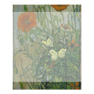 Mariposas y amapolas de Vincent van Gogh Tarjetas Publicitarias
