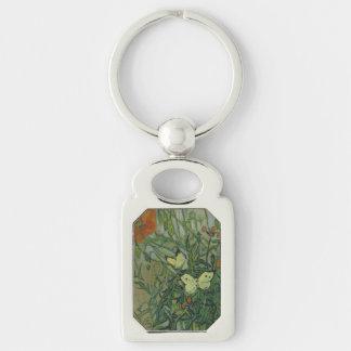 Mariposas y amapolas de Vincent van Gogh Llavero Plateado Rectangular