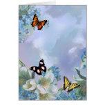 Mariposas y azules tarjeta