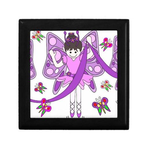 Mariposas y bailarinas joyero cuadrado pequeño