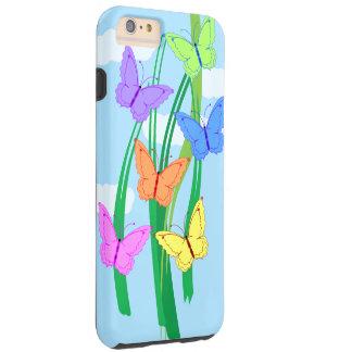 Mariposas y cielo coloreados funda de iPhone 6 plus tough