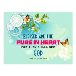 Mariposas y cita de la beatitud del flor de la postales