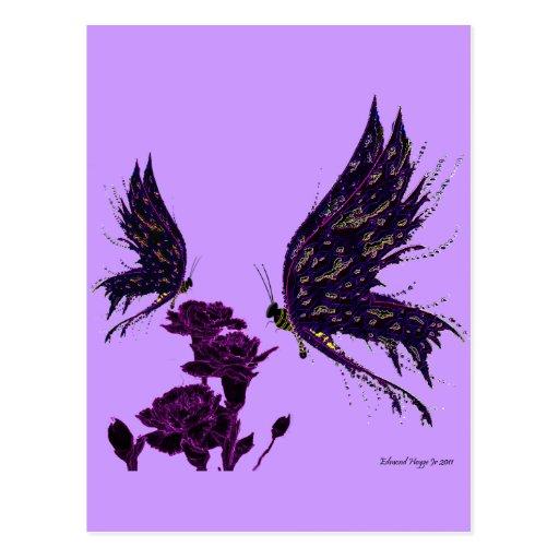 Mariposas y claveles tarjetas postales